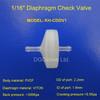"1/16"" 1.6mm small plastic check valve ,PVDF body /VITON diaphragm,one way valve"