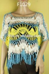 Fancy designs cotton hand crochet blouse
