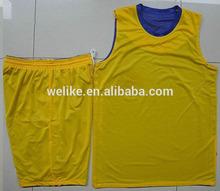 Yellow and purple basketball uniform basketball games shirt and shorts reversible basketball jersey set