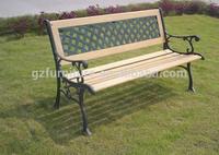 All Weather Outdoor Cast Iron Legs Wooden Slats for Garden Park Bench