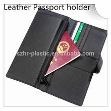 High- end Leather Passport Holder with Metal Zipper Pocket inside