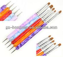 5pcs 2-Ways UV Gel Acrylic Nail Art Design Dotting Painting Brush Pen HN1778