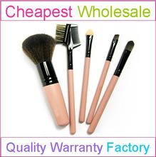 5pcs OEM nylon Cosmetic Brush Set With Pink mirror Makeup Brush Case