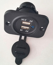 2014 Hot sell factory 2 port power socket with dual usb socket and plugs for car and marine motorcycle in stock