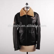 OEM Designer Mens Soft Shell Sheep Skin Flight Jacket Genuine Leather Pilot Jacket