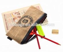 vintage eco-friendly jute stationary zipper pencil pouch
