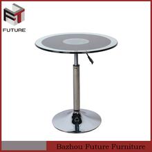 modern chrome metal base adjustable height glass coffee table