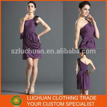 Modern Sequins One Shoulder Short Purple Chiffon Evening Dress Party