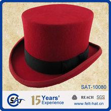 Red folding top hats, 100% Australian wool top hat