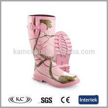 popular low price waterproof knee pink camo rain boots