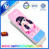 Lovely two layer student plastic pencil box,pinky girl cartoon design