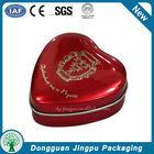 Custom elegant metal heart shaped jewelry packaging tin box