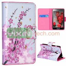 pu leather case for lg p715 optimus l7 ii,High quality Plum Blossom wallet leather case for LG L7 II dual P715