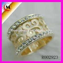 2014 moda anel barato por atacado cristal ouro amarelo anel grande