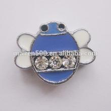 high quality diy charm bug rhinestone metal craft 8mm slide charms for 8 mm bracelet