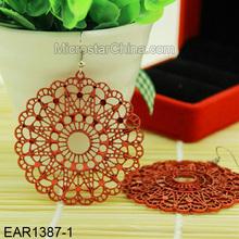 7cm Red Flower Dangle Earrings