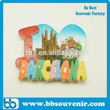barcelona resin fridge magnet spain souvenir