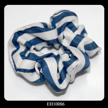Handmade Blue Stripe Flower Shape Elastic Hair Band