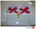 أحدث تصميم نسج بلوزة بيضاء طويلة الأكمام للفتيات الطفل