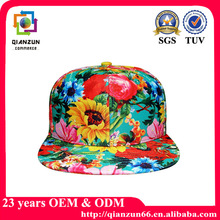 100 Polyester Blank Tie Dyed Full Floral Print Snapback Cap