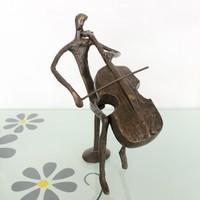 Male cello wrought iron ornaments cast iron bronze sculpture for home decoration 99141-c