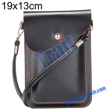 19x13cm Magnetic Snap PU Leather Pouch Multifunctional Shoulder Bag With Belt For Mobile