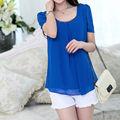 fanshou 2014 blusa de las mujeres de primavera y verano casual camisas de color caramelo de gasa blusa de manga corta camisa de la mujer 5586