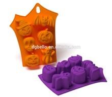 silicone Halloween cake molds bat skull and angry pumpkin shape bake mold