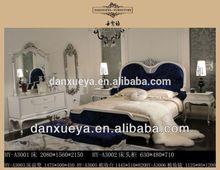 luxury royal queen princess bule velvet high head board bedroom set