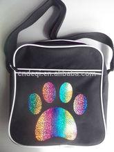 Rainbow Glitter Paw Print Retro Flight Bag Perfect for Dog Training or Shows