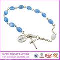 Ragazze religione cattolica dono di luce perla blu medaglia rosario braccialetto( xws- 1880)