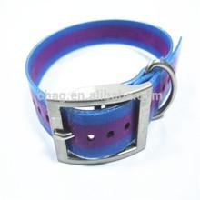 elastic purple stripes polyurethane dog collar with alloy fittings