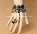 tessuto di pizzo gotico gemma braccialetto con anello attaccato 2014 vendita calda vintage braccialetto rosario anello migliore zsl005 regali per le ragazze