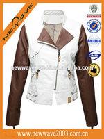 PU windproof leather sleeves denim jacket