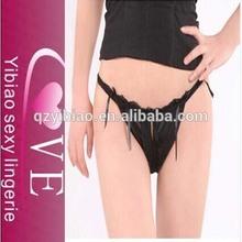 Nueva moda negro de encaje romántico transparente de las bragas