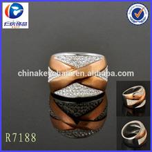 Renqing wholesale full diamond X shape fashion pigeon ring