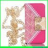 fashion pu +metal women's bag for iphone 5 5s
