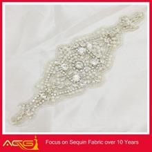 Cream colour rhinestone Bead Applique trim 1pcs Newest Silver Beaded wholesale handmade wedding bridal garter