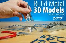 Children toy Tower model 3D puzzle Metal Simulation Model Educational Toys Metallic Nano Puzzle