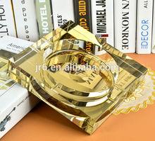Handmade Gold Crystal Ashtray Yellow Crystal Square Glass Ashtray
