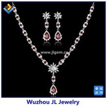 JL Jewelry Wedding Series Garnet CZ Stone Water Drop Flower Copper Jewelry Sets