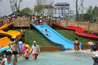 mountain wide aqua canon slide fiberglass rainbow aqua theme park games equipment amusement rides price