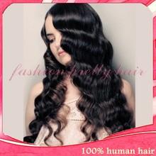 2014 Autumn cheap sale black deep body wave real virgin brazilian human hair silk top full lace wig with baby hair