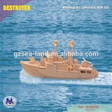 Destroyer Wooden Vessel Model Puzzle