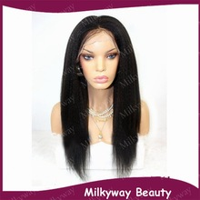 Free shipping yaki straight 1b color heat resistant italian kinky synthetic lace front wig For African Americans