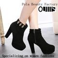 guangzhou pola güzellik fabrika siyah yarım çizmeler ph3087