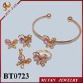 diseño de la mariposa para la niña cz bebé conjuntos de joyas de fantasía conjuntos en el último diseño