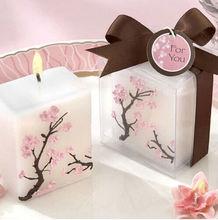 Cherry Blossom Elegance Mini Pillar Candle Wedding Favor