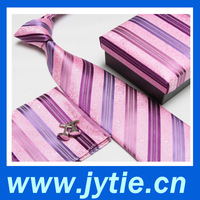 2015 Pink Color Stripe Polyster Woven Jacquard Tie Gift Set for Christmas Gift