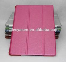Silk print ultra thin intelligent sleep 3 folding PU leather cover for ipad air